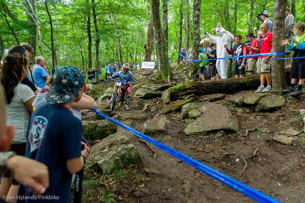 The rock garden at Beech Mountain is a bit on the gnarly side and not just because of the rocks. It s also fairly flat. That means it s easy to loose your speed and if you come to a stop there is no easy way to start pedaling running is probably your best option.