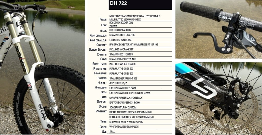 Lapierre 2013DH 722 Boxxer coil fork Formula brake lever through-axle rear dropout.and spec chart