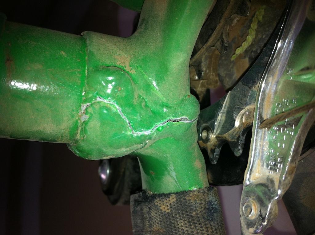 Broken at brace on lower pivot chainstay