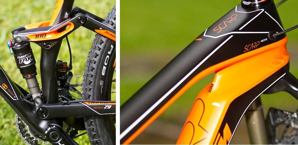KTM SCARP Carbon 29 linkage and head tube detail