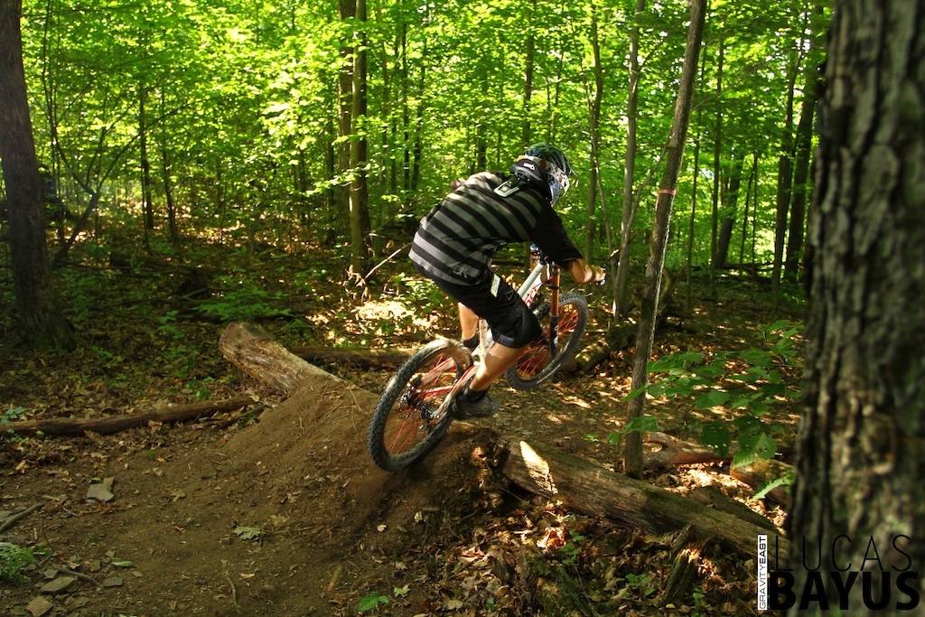 Right after entering the woods, you'll hit this little dirt scrub bump almost immediately into a tight left hand corner.