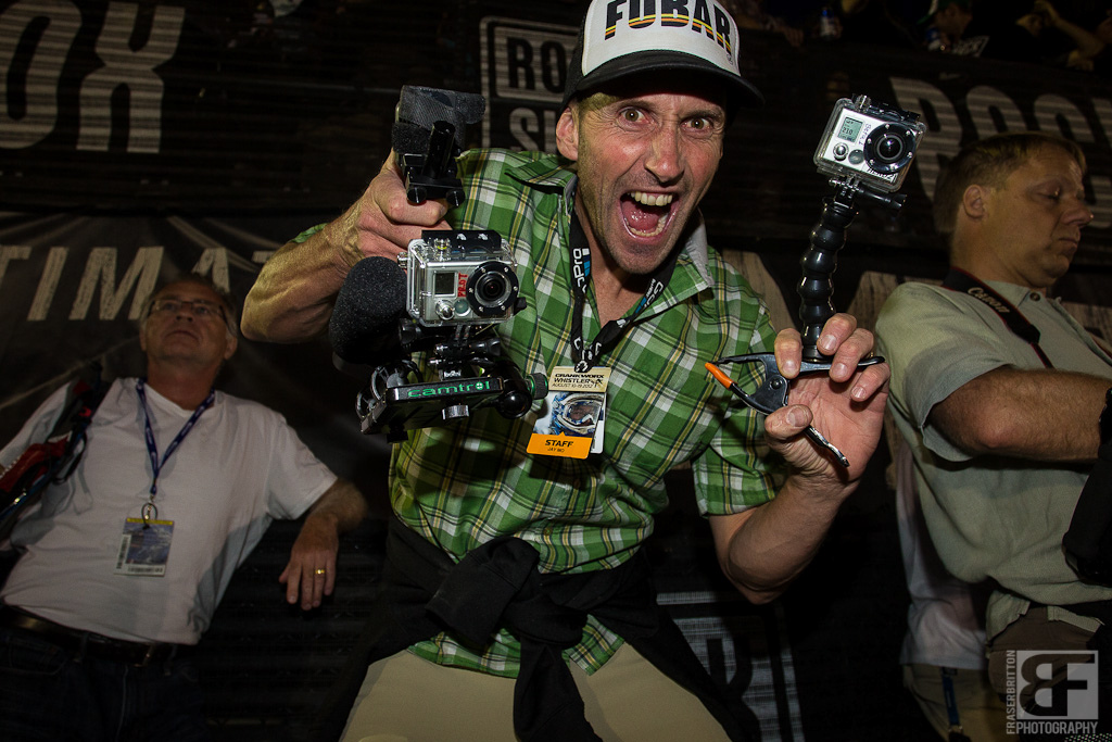 GoPros Jaymo with handheld go pro rig from Camtrol equipped with a rode shotgun mic and everything.