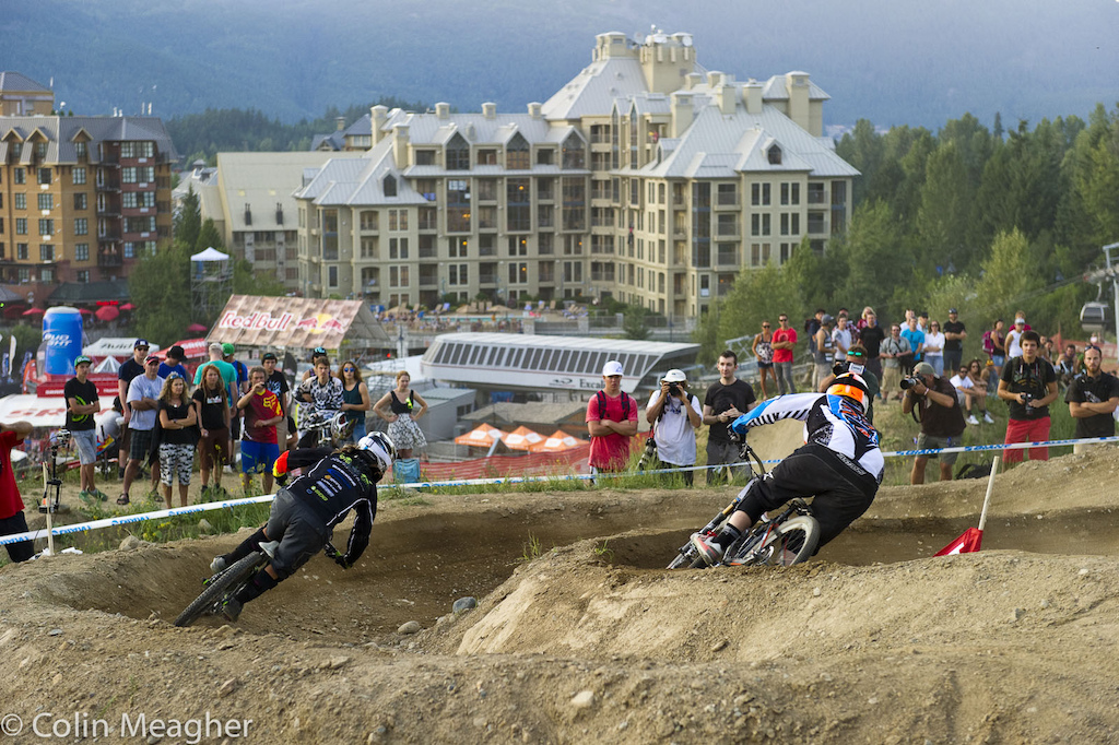 racing for the win in the 2012 Crankworx Giant Dual Slalom event held adjacent to the Boneyard Slopestyle Course in the Whistler Bike Park Whistler BC.