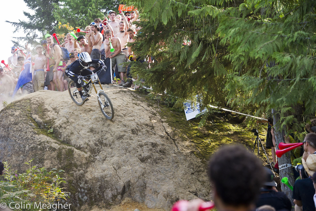 Marc Beaumont dragging bike park smoke onto the crowd at Heckler s Rock.