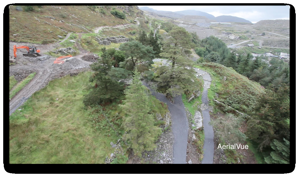 These ar aerial pictures of the open and soon to be opened downhill tracks at the new centre in Ffestiniog Wales.