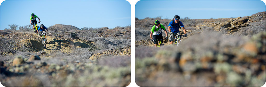 Richie Schley and Brian Lopes having fun on a trail near the Solosports camp at Punta San Carlos.