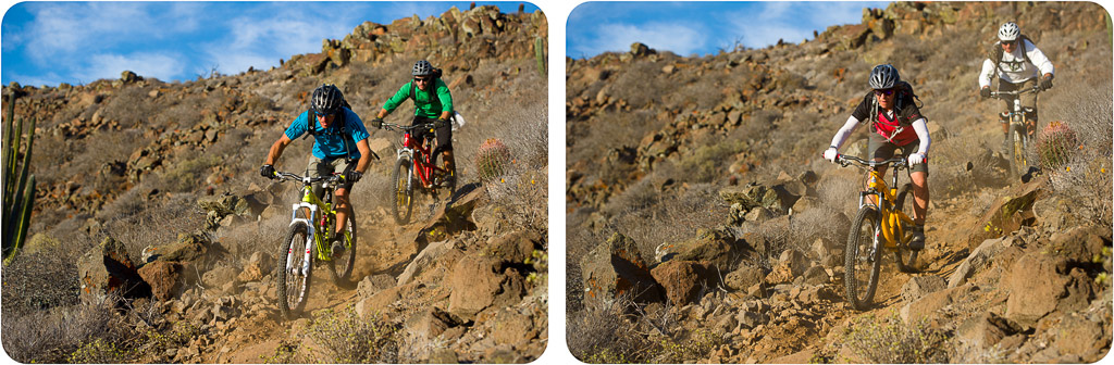 Richie Schley and Joey Sanchez ride down the mesa trail at Punta San Carlos.