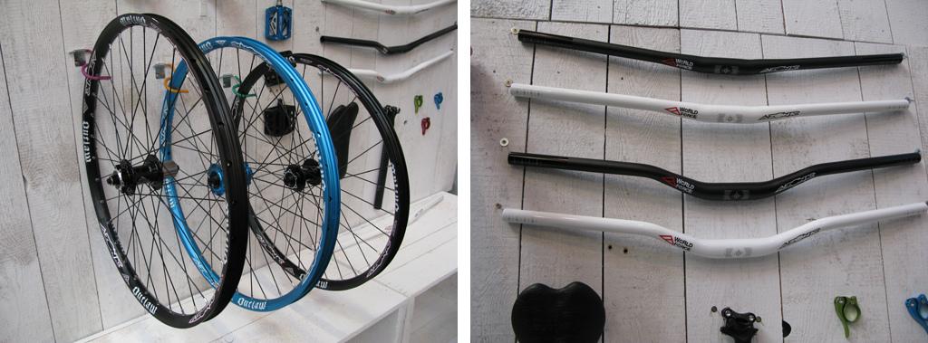 """29"""", 26"""" & 24"""" wheels alongside the full range of 15mm and 30mm bars."""