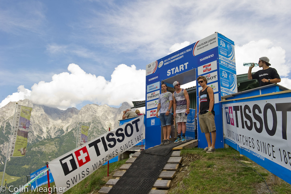 Whistler May have a Top of the World Trail but this is the top of the world for Downhill racing this week the start shack at Leogang.