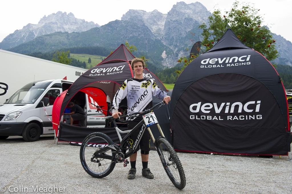 George Brannigan with his Devinci Worlds Bike.