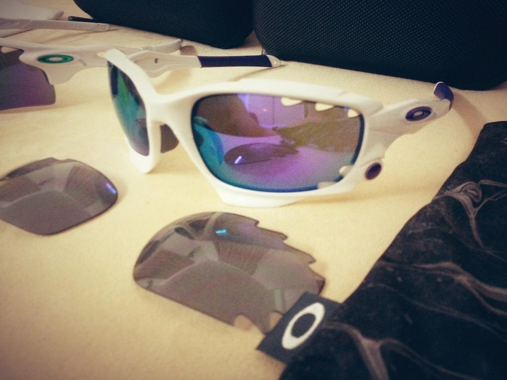 OAKLEY RACING JACKET Polished White/Violet Iridium & Light Grey
