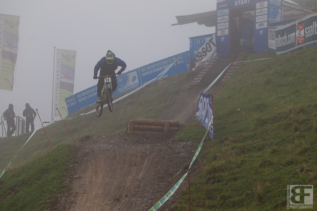It was extremely foggy up top all day. Bryn takes to the track in limited visibility for his first of many runs.
