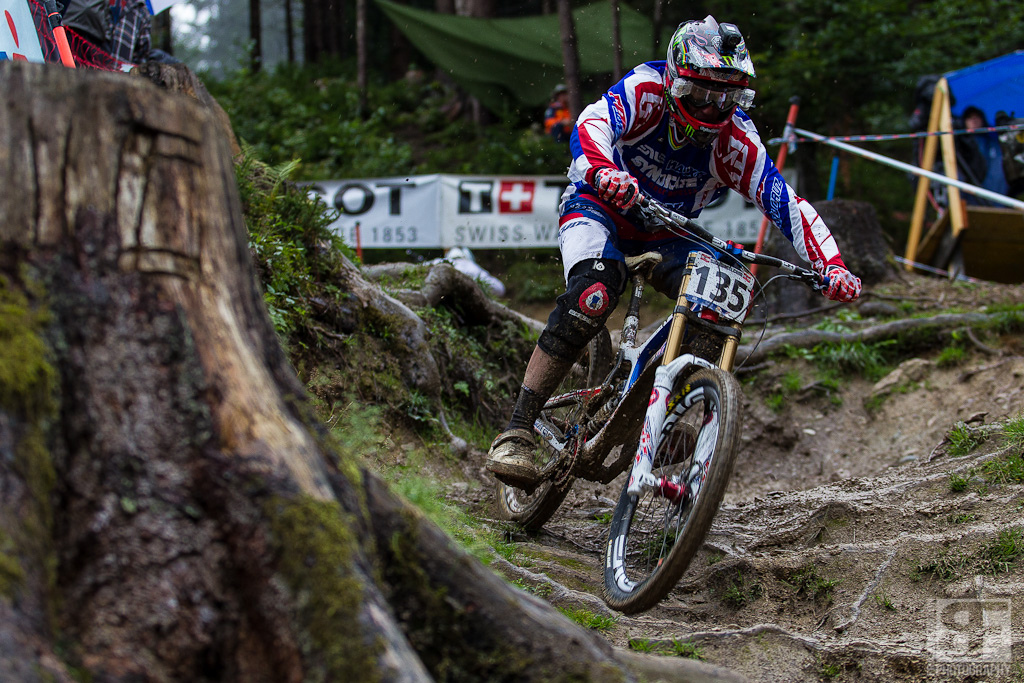 Steve Peat. Not on the start list still limping from a crash a few weeks ago and at his 20th World Champs on a track that suits him pretty well.
