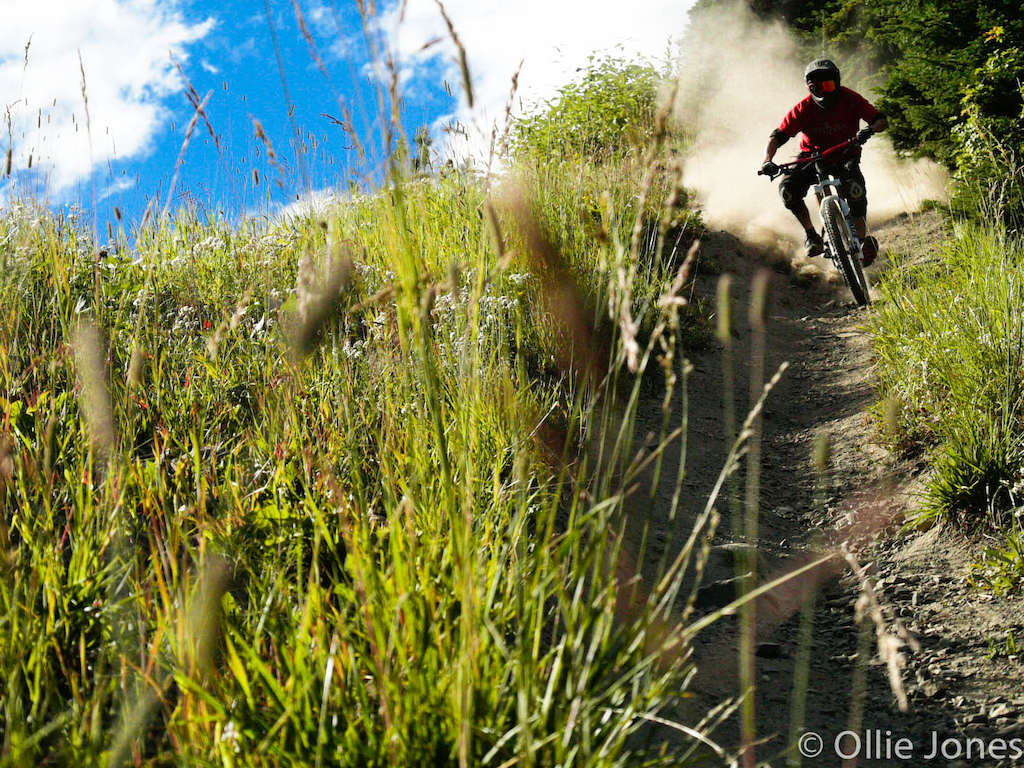 Shredding Silverstar bike park for the first day of our BC road trip. Kyle Darman shredding this steep line full speed for the lense