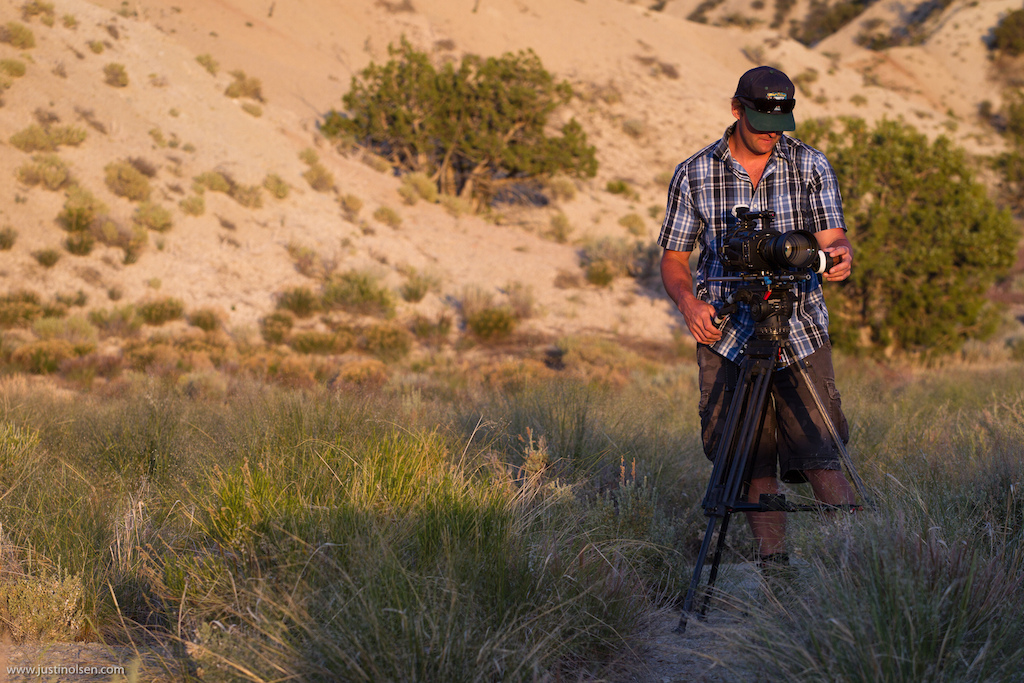 Freeride Entertainment filmer Cory Horton taking advantage of the last few minutes of golden desert light.