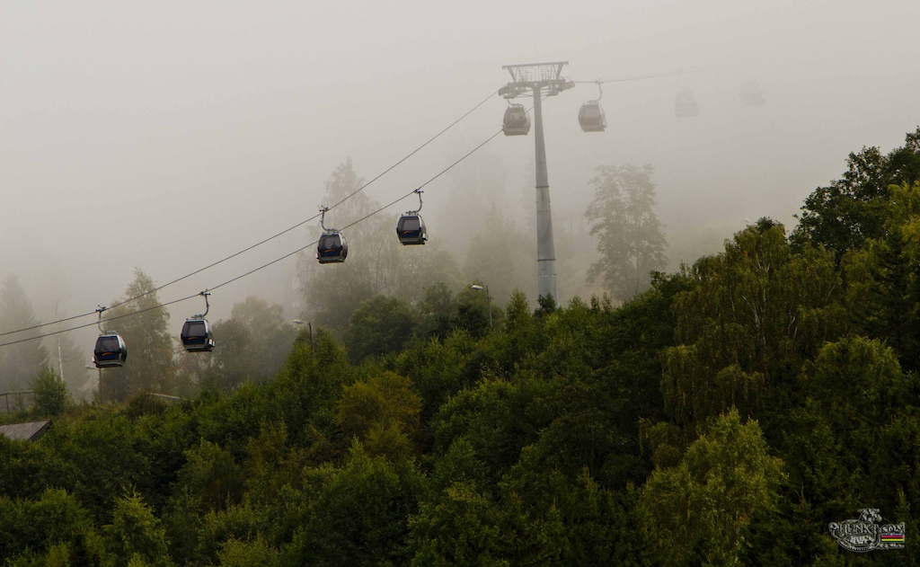 the weather was touch and go this morning - i call this one gondola s in the mist
