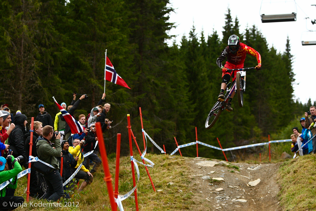 Josh Bryceland flying over the Norwegian crowds. 4th fastest!