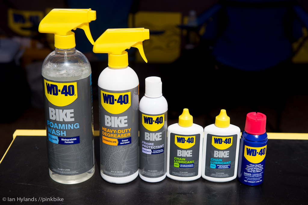 WD40 has a full line of bike specific lubes and cleaners now as well as the original blue can on the right.