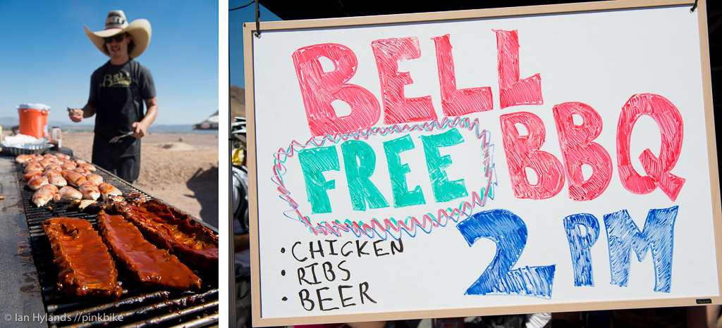 Bell was bbq ing up some great chicken and ribs free of course