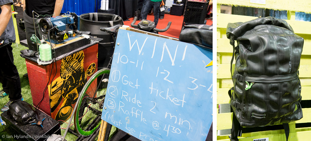 Green Guru recycles innertubes into some really nice bags and packs. And at the show they re getting people to ride a bike to generate the power to do it....
