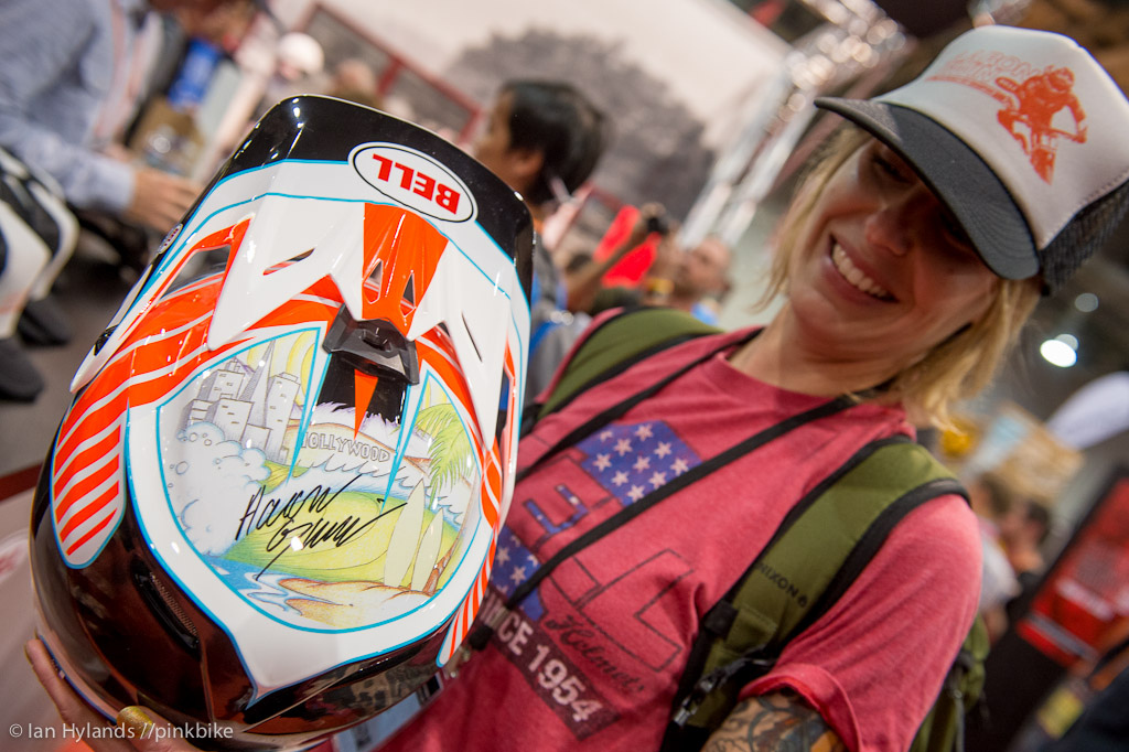 Amy Martin from Bell with a super sick helmet she had made up.
