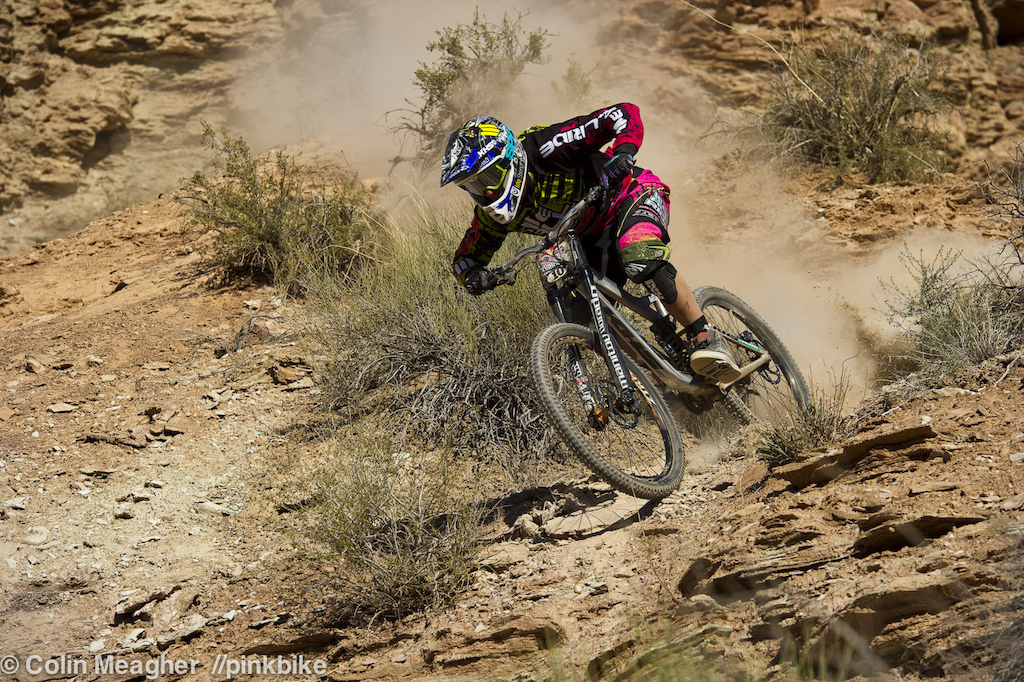 Logan Binggeli making his own dust storm. As a pre qualified rider, Benggeli gets to play on the upper half of the zone. He's also rocking the 650b wheels--the front looks normal at first glance; it's only when one gazes at the rear tire that the size really stands out.