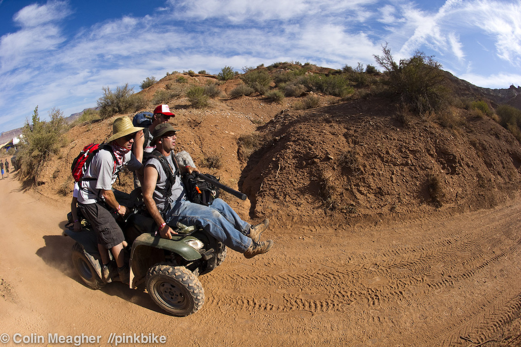 It used to be clowns and small cars; now it's media nerds and quads. There are 4 videographers clowning their way up the hill on  this ride.