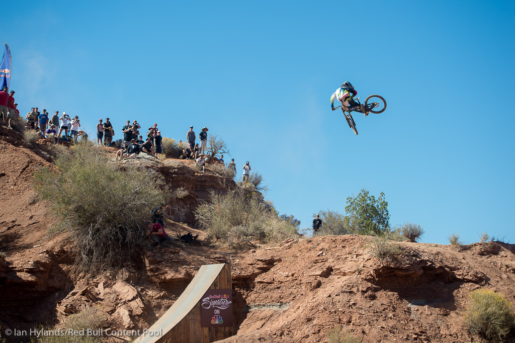 Nico Vink rides in the finals at Red Bull Rampage in Virgin, Utah on 7 October, 2012
