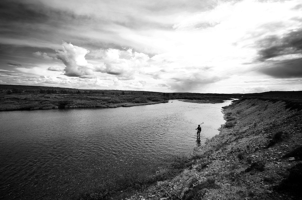 Good old friend and fly fishing buddy Andreas Lium doing som reco in a virgin river in Finnmark Norway.