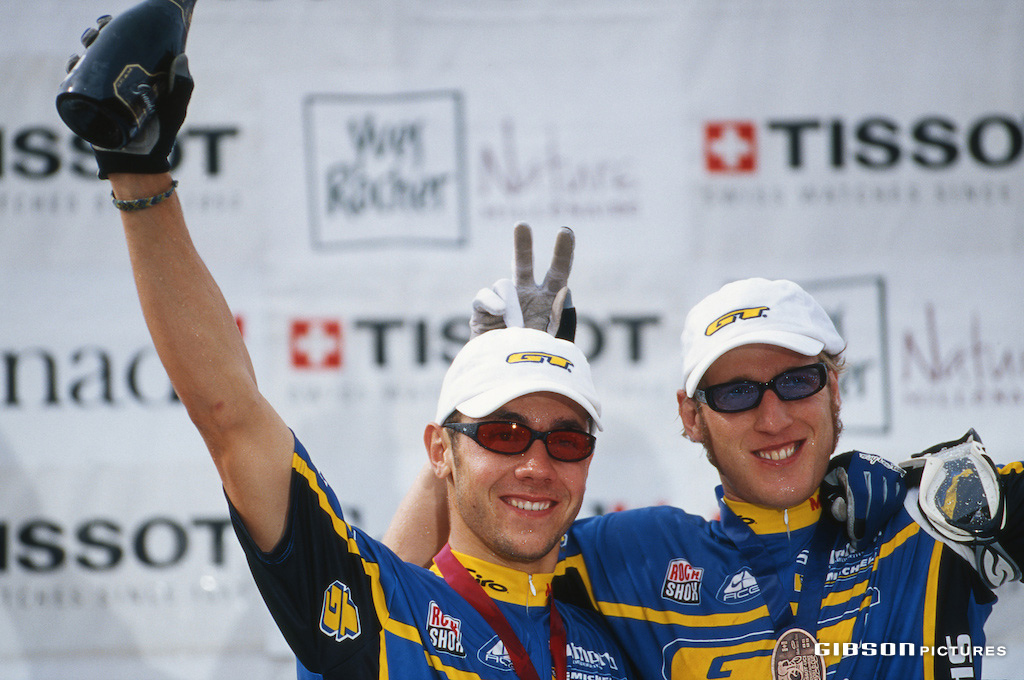 Fabien Barel 1st and Steve Peat 3rd on the podium at the 2000 Quebec World Cup. John Gibson photo www.gibsonpictures.com