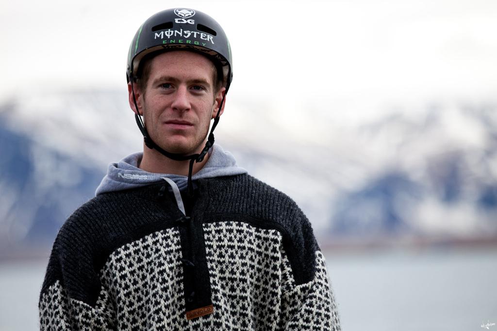 sam wearing his icelandic sweater