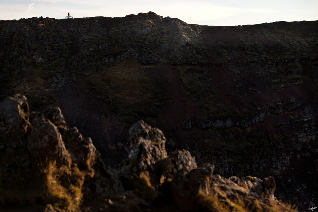 grant standing on the opposite side of an inactive vulcano kerid