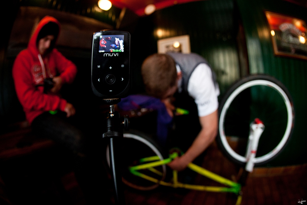 maintaining the bike in a pub