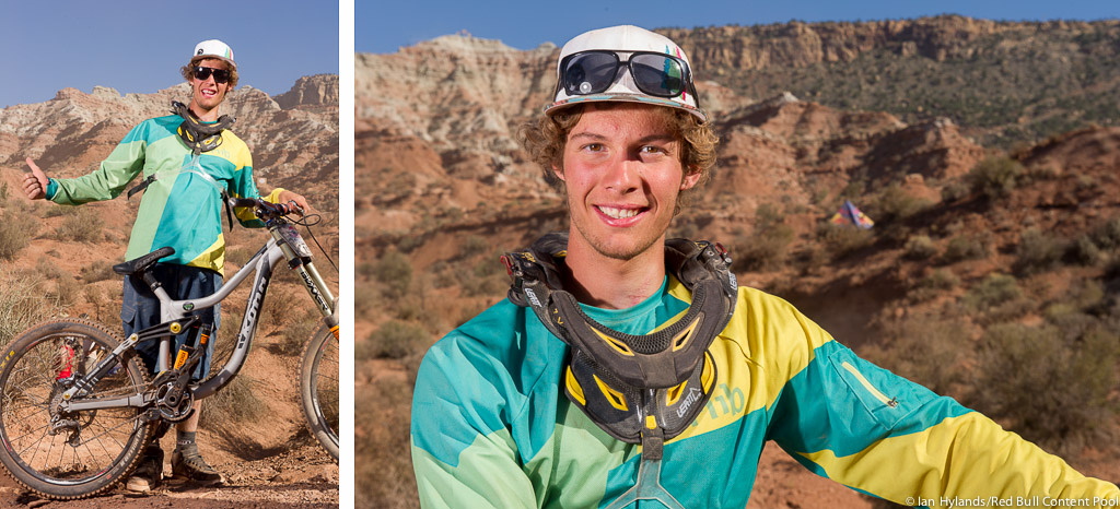 Second place finisher Antoine Bizet poses for a portrait at Red Bull Rampage in Virgin Utah on 7 October 2012