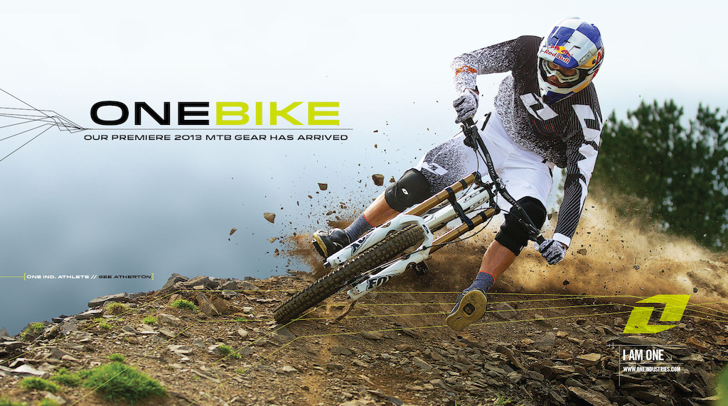 Gee Atherton railing it ONE Products Gamma helmet Vapor Jersey Vapor Glove Intel Short Conflict knee MTB sock