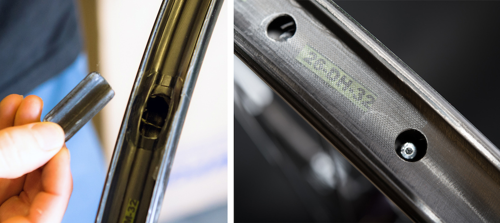 ENVE's proprietary carbon layup process utilizes an inflated bladder that is removed after molding. The rim is then patched and refinished. Alloy spoke nipples are located inside the rim and require a specific spoke wrench for building/tensioning/truing.