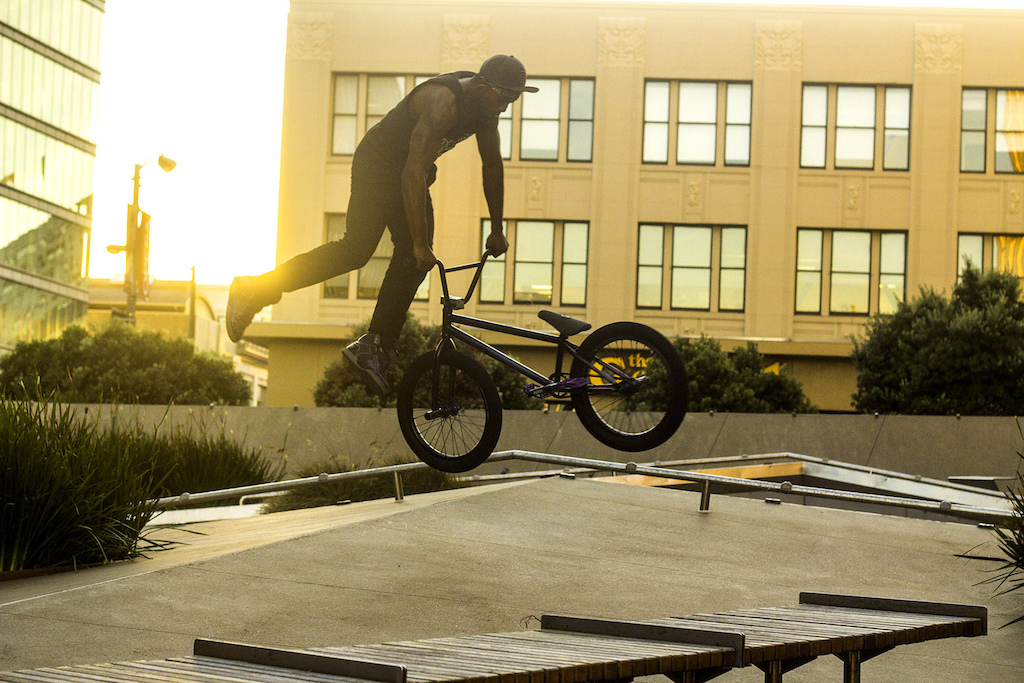 terrance tail whipping during golden hour on a building