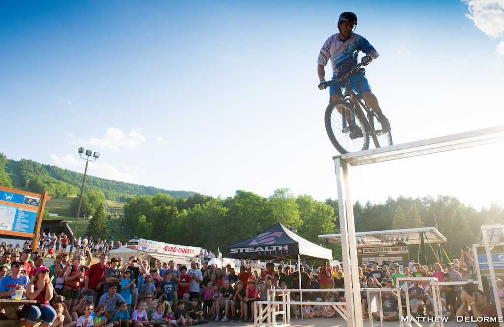 I don't think I'll ever get bored of showing off!  This picture was from the Windam World Cup this past summer.  I had a great weekend watching the worlds best racers out on the mountain and having the opportunity to ride for such and enthusiastic crowd.  I still love doing my trials demos because I get to meet riders from all around the world and introduce our sport to lots of new people.