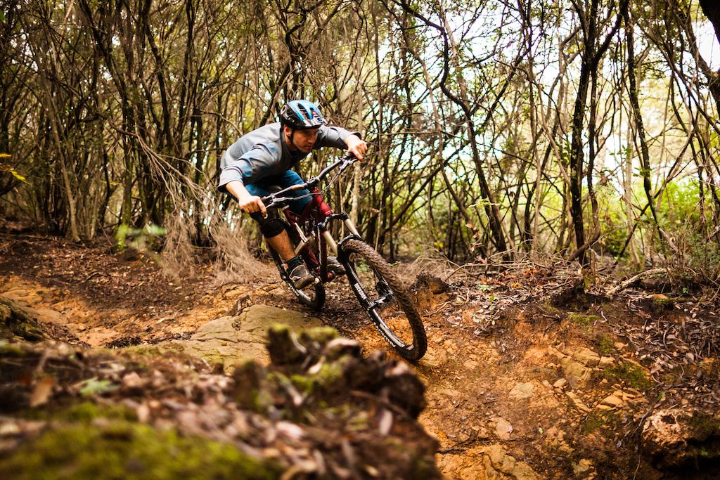 Pushing the 26-inch bike into a compression. Photo courtesy of SRAM Simon Cittati