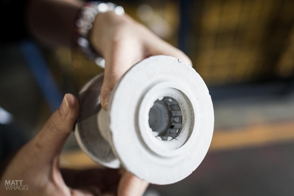 A pressed heat-treated hub.