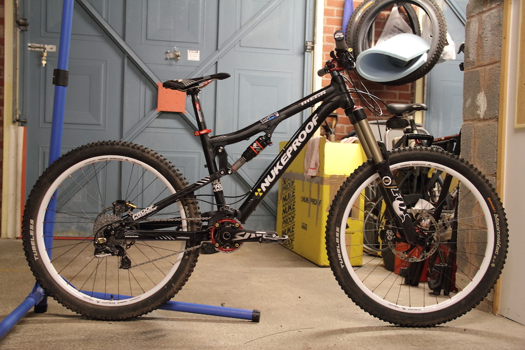 2012 Nukeproof Mega, Saint groupset and pedals, Renthal Bars and grips, Fox 36 Van R forks and Superstar AM wheelset with Slik Graphics