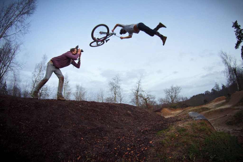 Having some fun riding bikes, super whip from the last sesh of 2012, Sam Hunnisett took the photo!