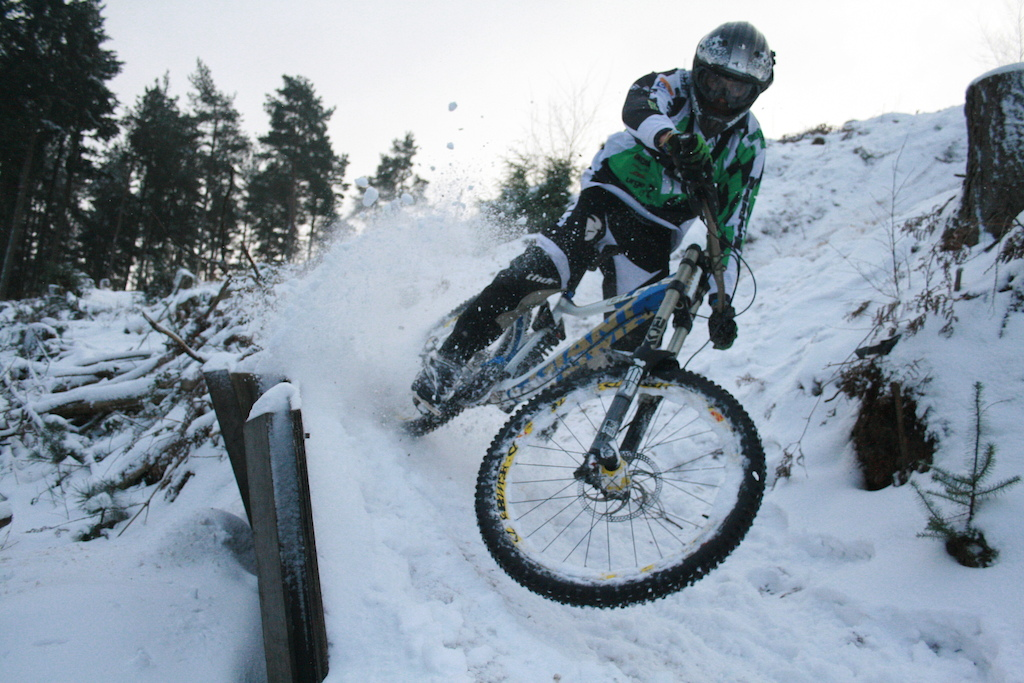 Team Aston Hill rider Glenroy  roosting in the snow