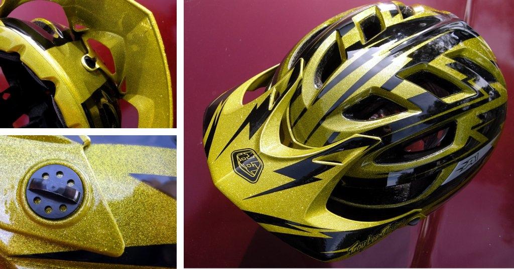 Troy Lee Designs A1 helmet - the gold metal-flake edition visor details