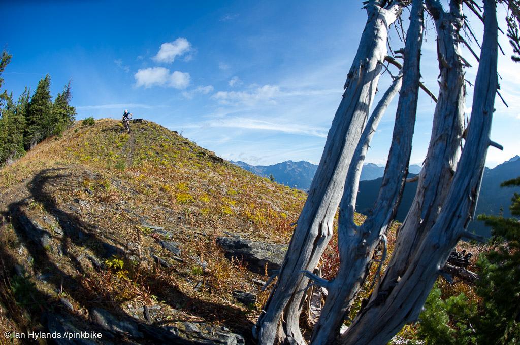 Lindsey Voreis rides her bike in the Alpine above Retallack Lodge near Kaslo BC