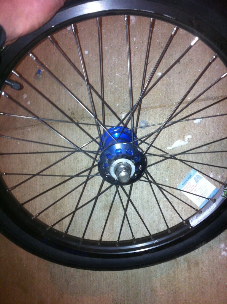 profile mini ss 32hole 9t cassette hub blue stock weinmann rim single wall and spokes