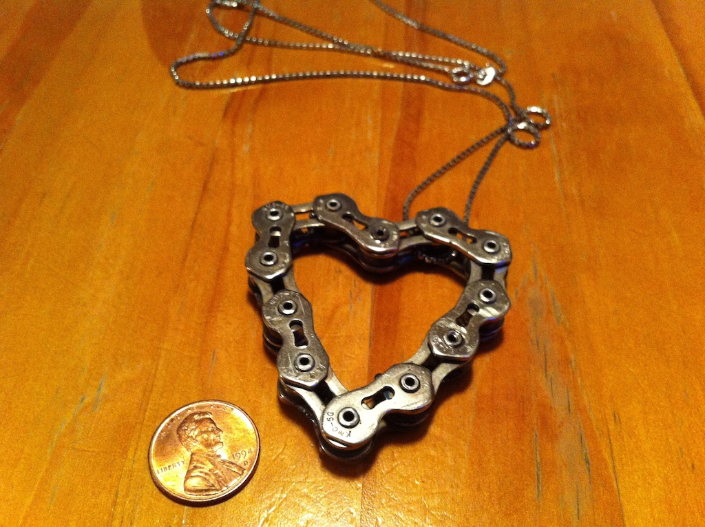 Bike chain heart necklace for my gf. Front side