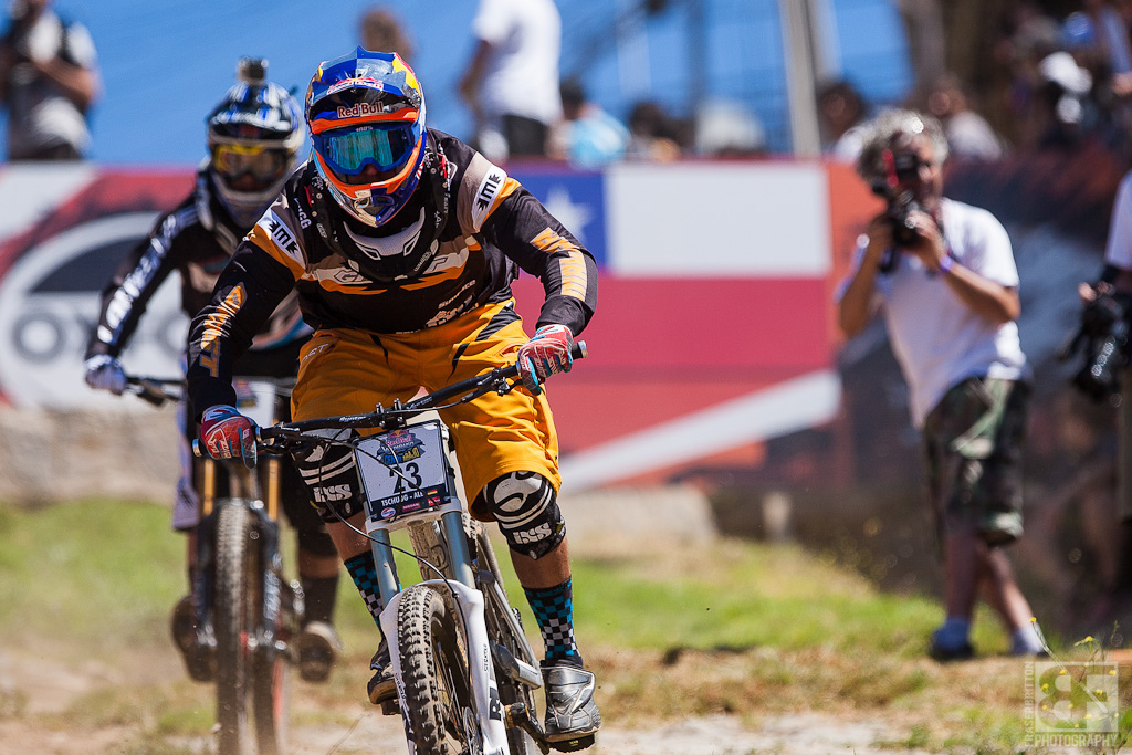 Guido Tschugg is another first timer in Chile. he had a great time hucking himself all over the track.