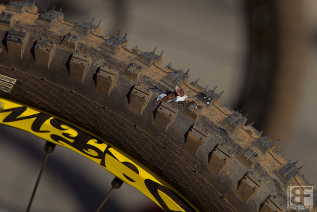 The dangers of urban racing Filip Polc had a bit of a blow out when a massive roofing nail decided to make a new home in his tubeless setup.
