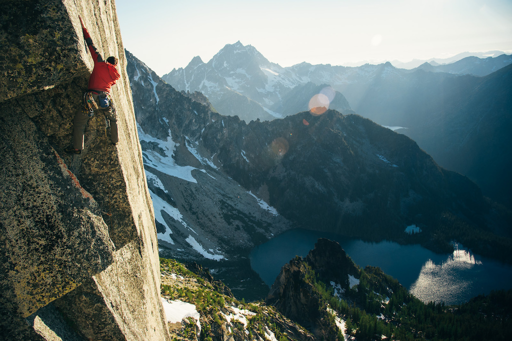 Scott works his way up the Tempest Headwall in the Central Cascades.